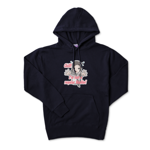 """Chill! I'm just a regular Muslim! Hoodie (collaboration with KojiMan) Navy"