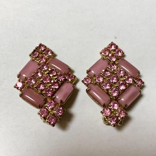 Vintage Moon Glow Glass Cabochon & Bijoux Earrings