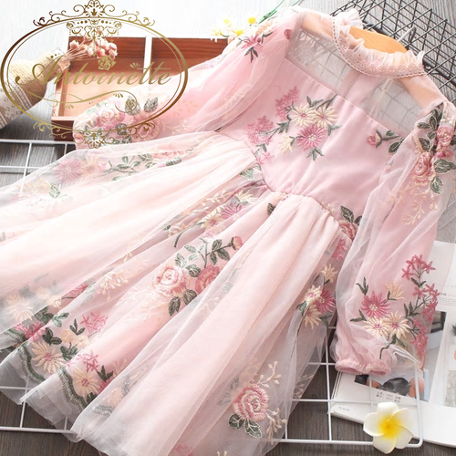 Spring Cute Kids Print Long Sleeve Dresses for Girls Clothing High Quality Children Baby Girl Clothes Princess Dress 3-11Y