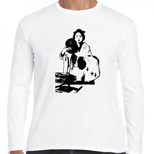 鼓を打つ芸妓 幕末 明治 舞妓・芸妓 歴史人物ロングTシャツ019
