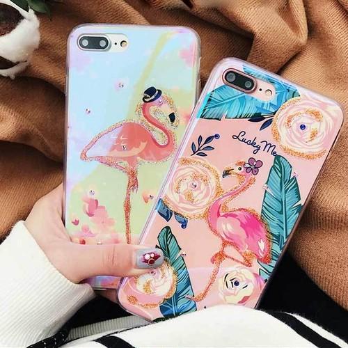 フラミンゴ カラフル 可愛い iPhone シェルカバー ケース ピンク ブルー ゴールド キラキラ ★ iPhone 6 / 6s / 6Plus / 6sPlus / 7 / 7Plus / 8 / 8Plus / X ★ [MD321]