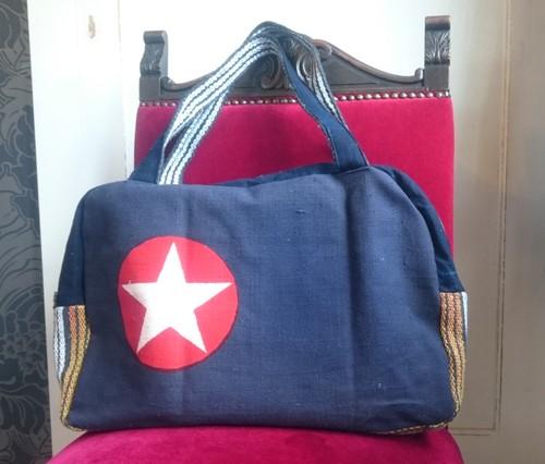 -STAR- ビンテージリメイク前掛けバッグ ボストンバッグJapanese vintage Maekake bag