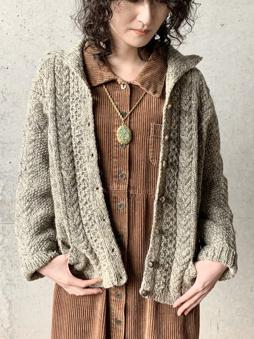 unknown Aran Cable Knit Cardigan
