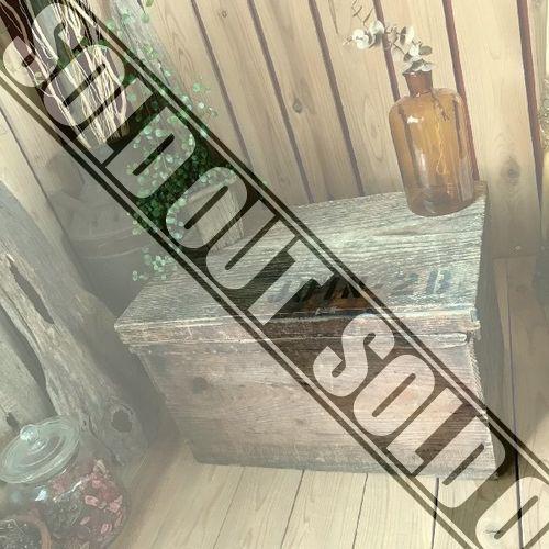 *古い木製ブリキ張り収納箱*木箱ウッドボックス*古道具アンティークヴィンテージビンテージ自然ナチュラルクウネル昔レトロ