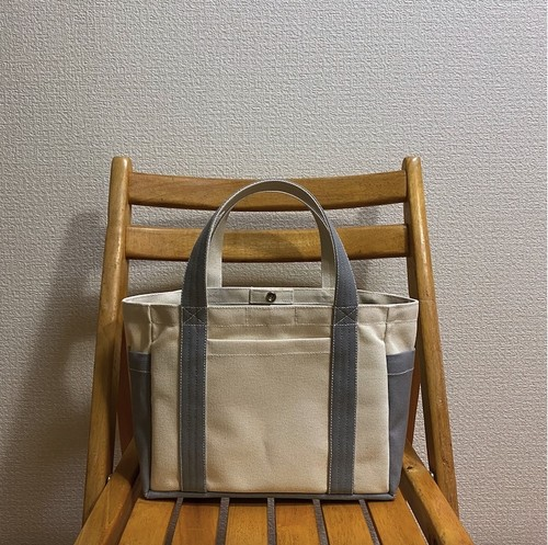 「ポケットトート」小サイズ「生成り×グレー」帆布トートバッグ 倉敷帆布8号【受注制作】