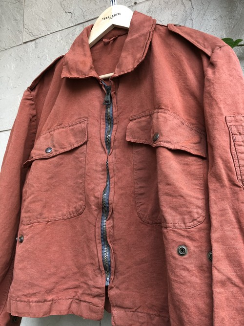 Old Italian military flight jacket overdyed brick color