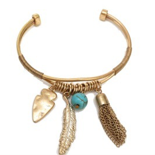Metal Tassel, Leaf and Arrow Bracelet(PB0713)