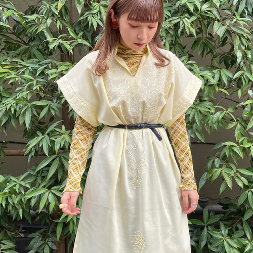 (LOOK) french sleeve embroidery one-piece