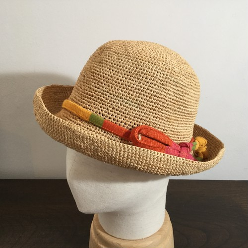 ラフィアこま編み夏帽子(ナチュラル)