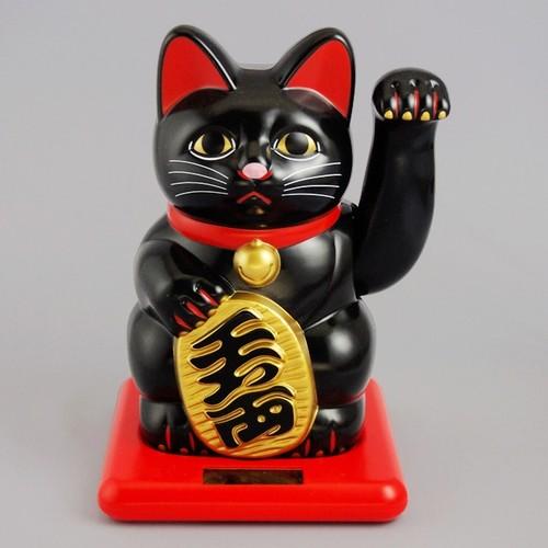 小型ソーラー招き猫 (黒)