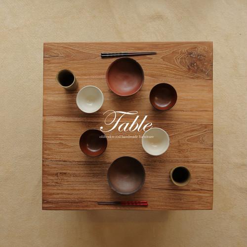 ●送料無料●ナチュラルな質感が素敵!無垢チーク材のローテーブル 正方形 70x70