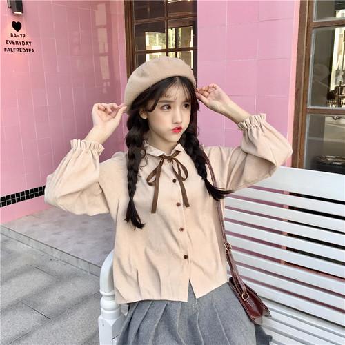 【トップス】春無地長袖ファッションスウィートPOLOネックシャツ