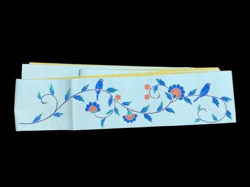 麻×木綿リバーシブル半幅帯「文鳥唐草」水浅葱