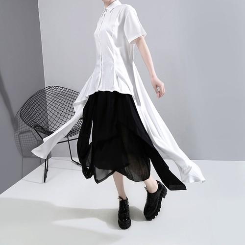 アシンメトリー シャツ 折り襟 半袖 大きいサイズ 韓国ファッション レディース トップス 不規則デザイン 大人カジュアル 大人可愛い ガーリー