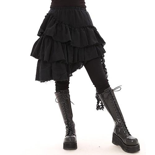 ゴスロリ・アシンメトリー・裾切りっぱなし・ティアードスカート