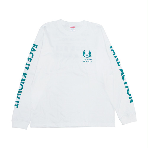 """FOUR GET ME A NOTS """"BE WITH YOU"""" L/S white/green"""