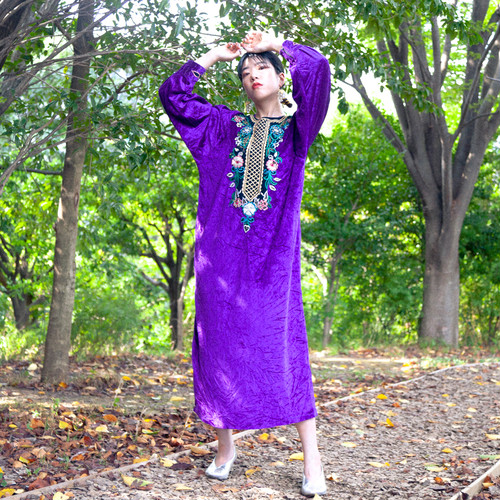 Purple velour flower ethnic dress