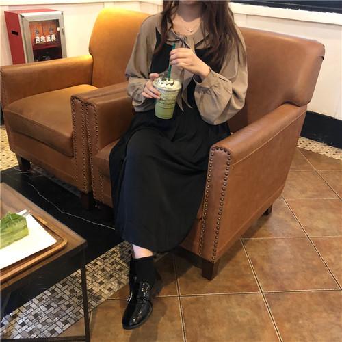 セットアップ ボウタイ ブラウス + ジャンパースカート 韓国ファッション レディース ロング丈 無地 ハイウエスト DTC-610316280600