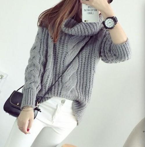 v-xa16-6250タートルセーター全4色 グレー/グリーン/キャメル/パープルサイズ:【F】 f