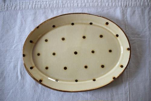 中川紀夫(紀窯)|スリップウェア 楕円皿 大 クリーム色