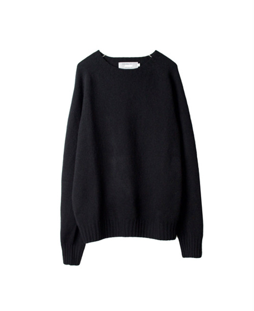 【ARMEN】CREW NECK SADDLE SHOULDER P/O:ブラック