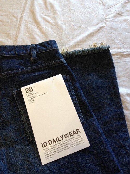 14.5OZ DAMEGE SLIM STRAIGHT DENIM PTS(ID DAILYWEAR)