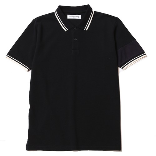 POLO SHIRT - ARM LINE (BLACK) / RUDE GALLERY