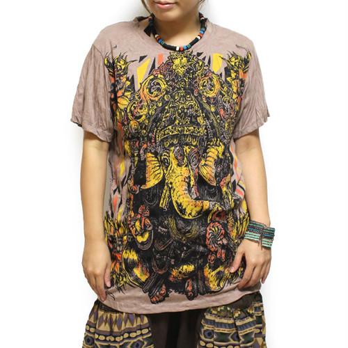アジアンTシャツ(ガネーシャ /ベージュ /メンズM,L,XL)【レディースOK】