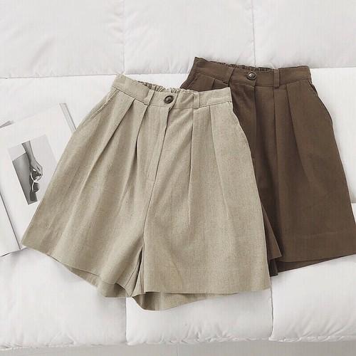 【送無】*予* 2color:Highwaist Cotton Linen Short Pants  コットンリネン ショートパンツ 大人カジュアル プチプラ 送料無料