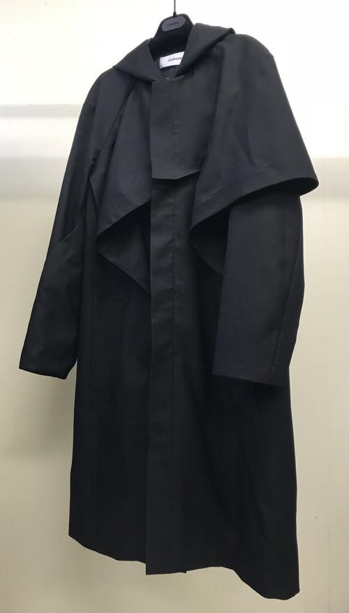 CHALAYAN HOODED COAT BLACK