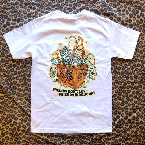 Cycle Trash 21th anniversary T-shirt - White- crate-f/c cream- by Burrito Breath