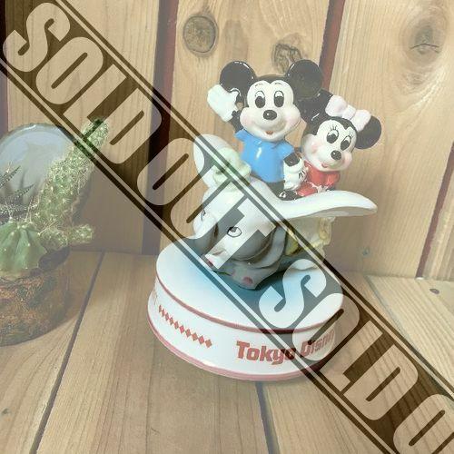 ≫80'sヴィンテージ*希少レア*Disney東京ディズニーランド*古いミッキーマウスミニーダンボ陶器製オルゴール*ドールビンテージアンティーク