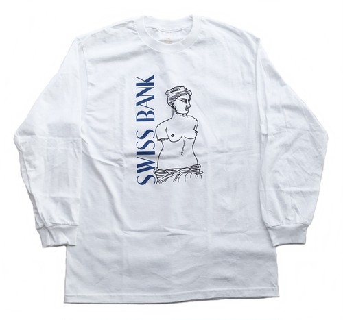SWISS BANK STATUE L/S TEE WHITE L スイスバンク