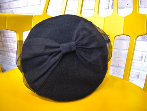 チュールリボンベレー帽 black
