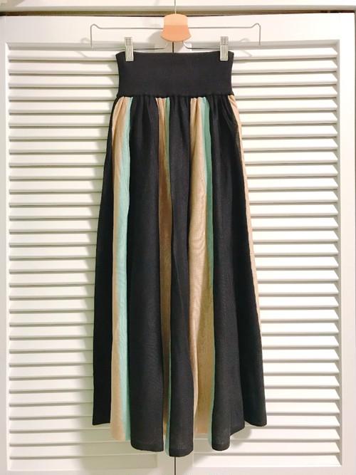 ストライプの配色スカート 水色×ベージュ×ブラック