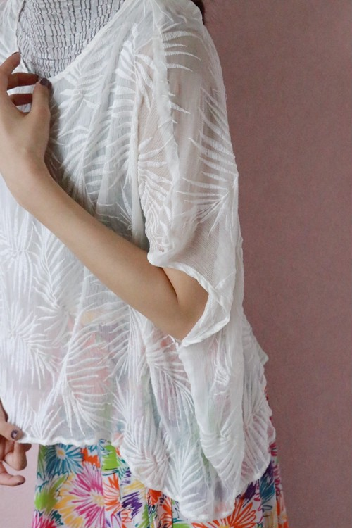 white embroidery see-through tops