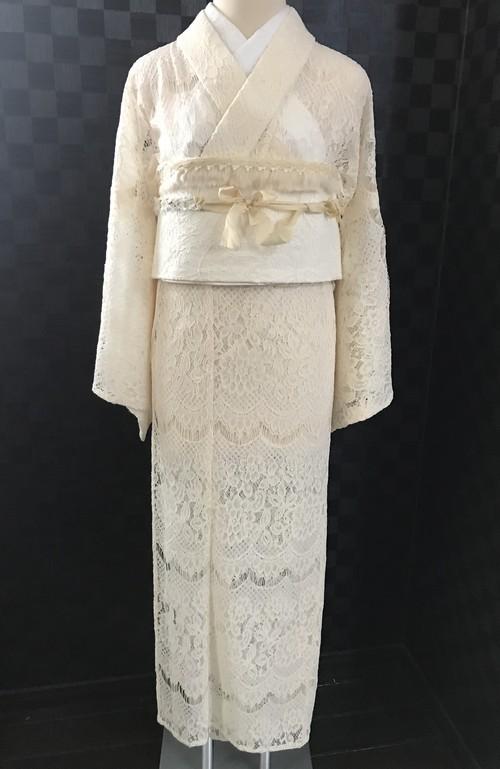 オフホワイトのレース着物(単衣)