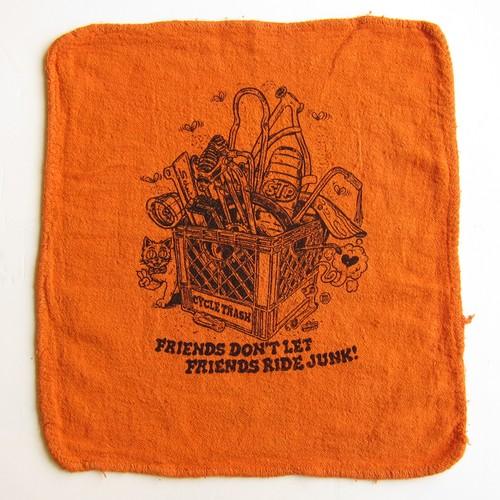 Cycle Trash 21th anniversary Shop Towel, Orange-Create by Burrito Breath