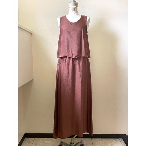 【hippiness】cupro layered one piece(brown) /【ヒッピネス】キュプラ レイヤード ワンピース(ブラウン)