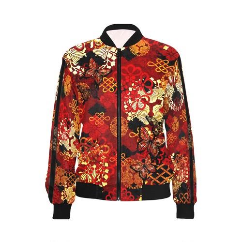 家紋装飾Red Gold メンズ&レディースボンバージャケット