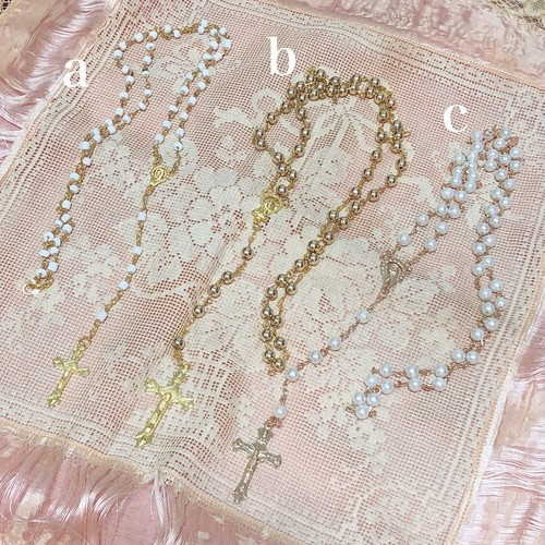 【b】gold♡Rosary necklace