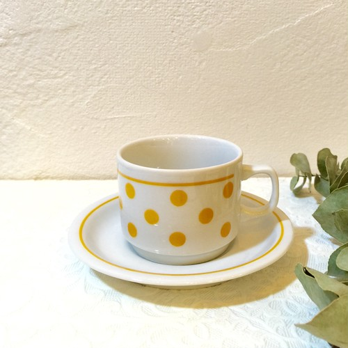 "60's Vintage Demitas Tea Cup&Saucer ""Zsolnay"" from FIRENZE [CCV-3]"