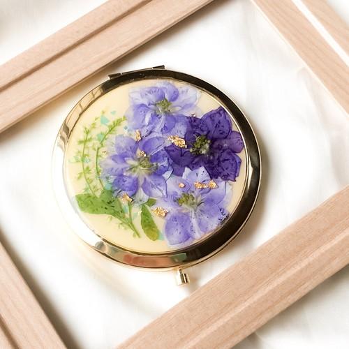 押し花のコンパクトミラー(青黄)