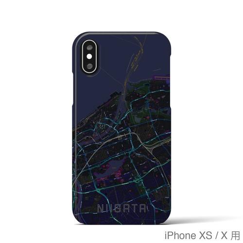 【新潟】地図柄iPhoneケース(バックカバータイプ・ブラック)