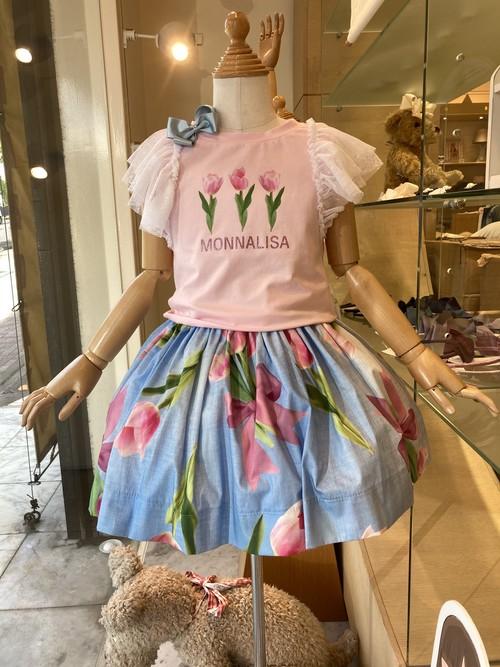 MONNALISA チューリップTシャツピンク 3才~12才 モナリザ