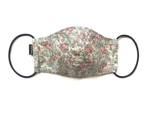 【新作レディース 夏用デザイナーズマスク COOLMAX使用 日本製】花柄ペイズリーマスク グリーン色