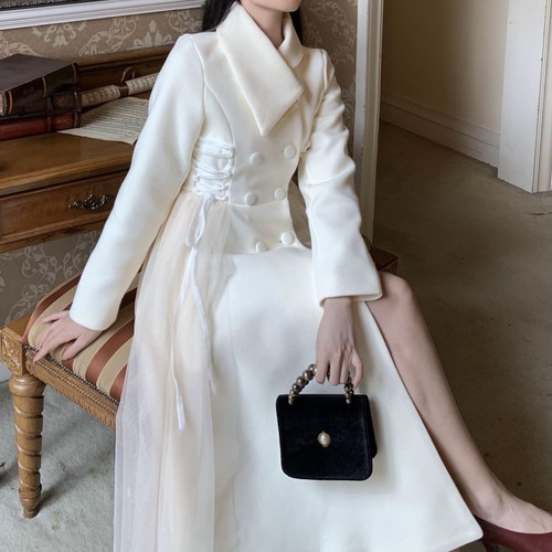 side lace-up point tulle coat