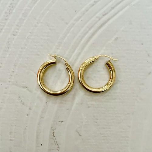【14K-2-4】14K gold medium hoop earring