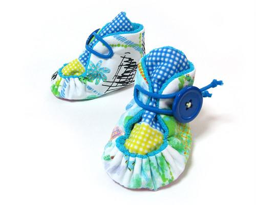 パイルベビーブーティ/10cm 水色×サボテン(サイズオーダー可) ファーストシューズ 出産祝い