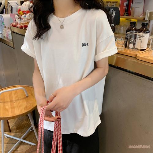 【トップス】新作合わせやすいルーズ着瘦せ半袖ラウンドネックTシャツ